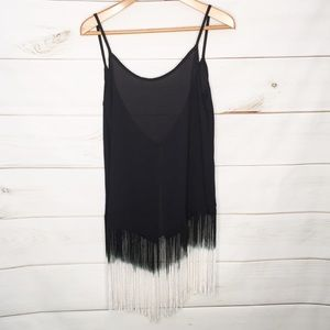 TINLEY Long Fringe Trim Tank Top Open Back Small